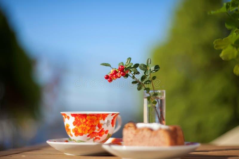 Τσάι και κέικ στοκ εικόνες με δικαίωμα ελεύθερης χρήσης
