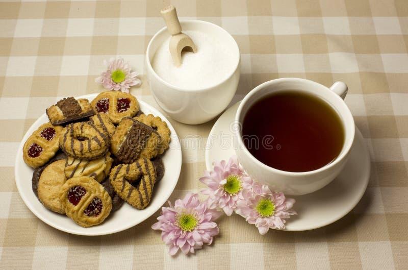 Τσάι και μπισκότα Στοκ Εικόνες
