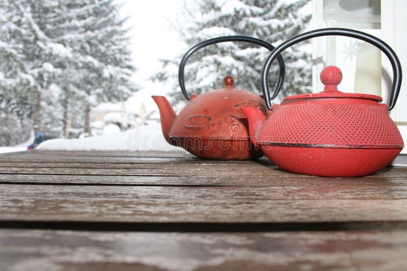Τσάι και χιόνι στοκ εικόνες