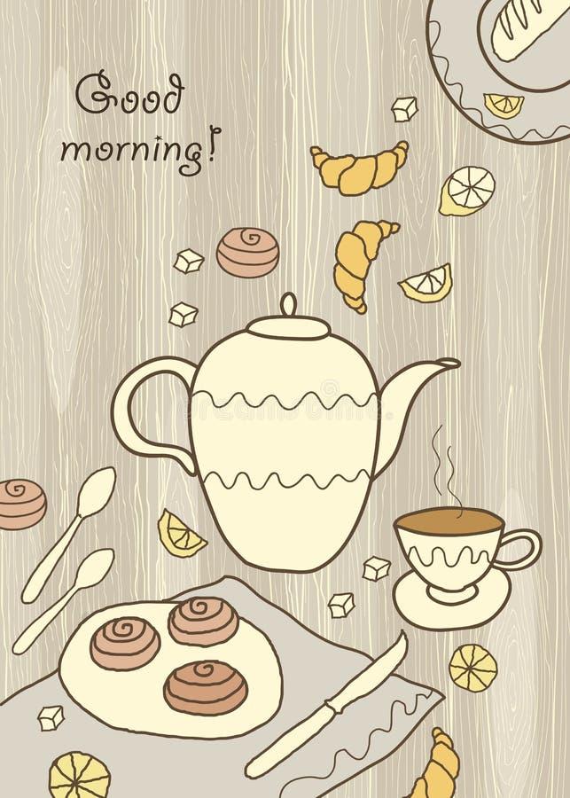 Τσάι, καφές και γλυκά στο ξύλινο υπόβαθρο ελεύθερη απεικόνιση δικαιώματος