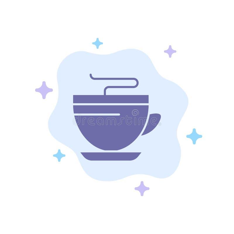 Τσάι, καφές, φλυτζάνι, καθαρίζοντας μπλε εικονίδιο στο αφηρημένο υπόβαθρο σύννεφων ελεύθερη απεικόνιση δικαιώματος