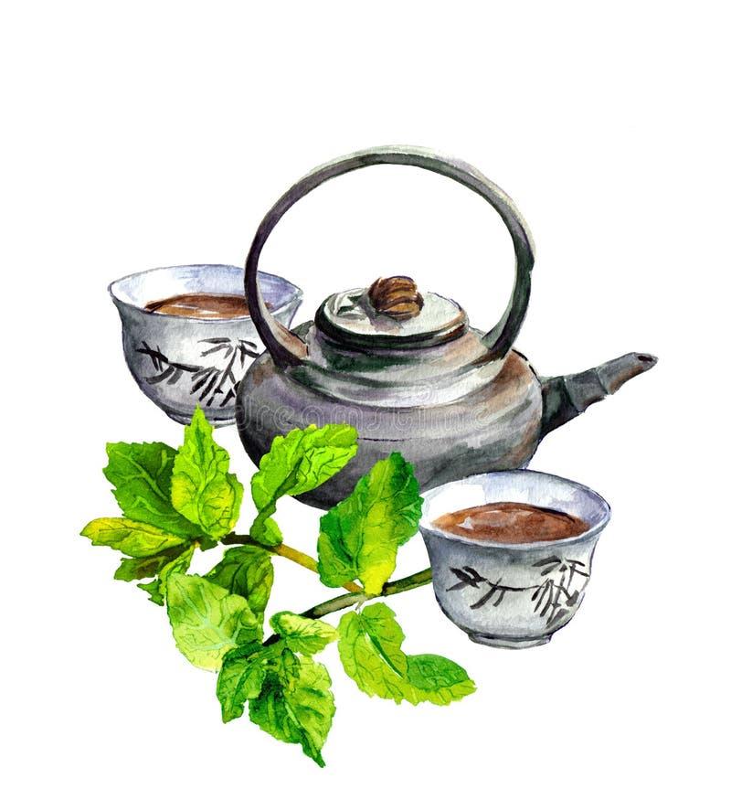 Τσάι μεντών καθορισμένο - teapot και παραδοσιακού κινέζικου φλυτζάνια watercolor διανυσματική απεικόνιση