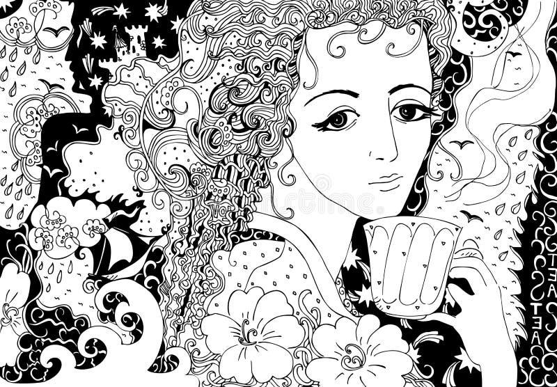 Τσάι με τις μνήμες Συρμένη χέρι doodle απεικόνιση του όμορφου κοριτσιού απεικόνιση αποθεμάτων