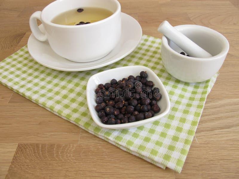 Τσάι μούρων ιουνιπέρων και ξηρά μούρα ιουνιπέρων στοκ εικόνα