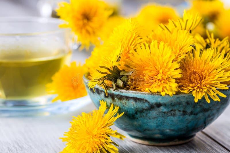 Τσάι πικραλίδων Κίτρινα λουλούδια πικραλίδων και φλυτζάνια τσαγιού στοκ εικόνα με δικαίωμα ελεύθερης χρήσης