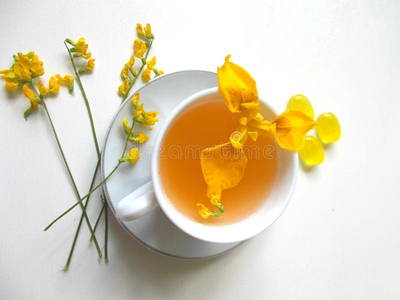 Τσάι σε ένα άσπρο φλυτζάνι με τα κίτρινα λουλούδια στοκ φωτογραφία με δικαίωμα ελεύθερης χρήσης