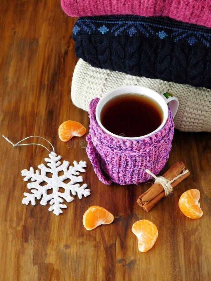 Τσάι σε μια κούπα που τυλίγεται στο μικροσκοπικό μαντίλι που περιβάλλεται από τα τμήματα μανταρινιών στοκ εικόνες με δικαίωμα ελεύθερης χρήσης