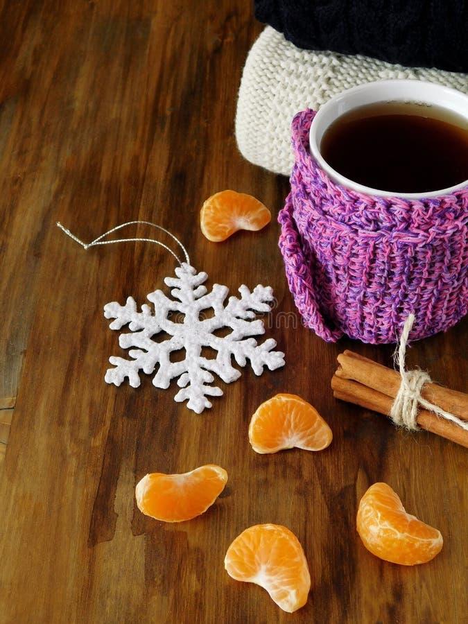 Τσάι σε μια κούπα που τυλίγεται στο μικροσκοπικό μαντίλι που περιβάλλεται από τα τμήματα μανταρινιών στοκ φωτογραφία με δικαίωμα ελεύθερης χρήσης