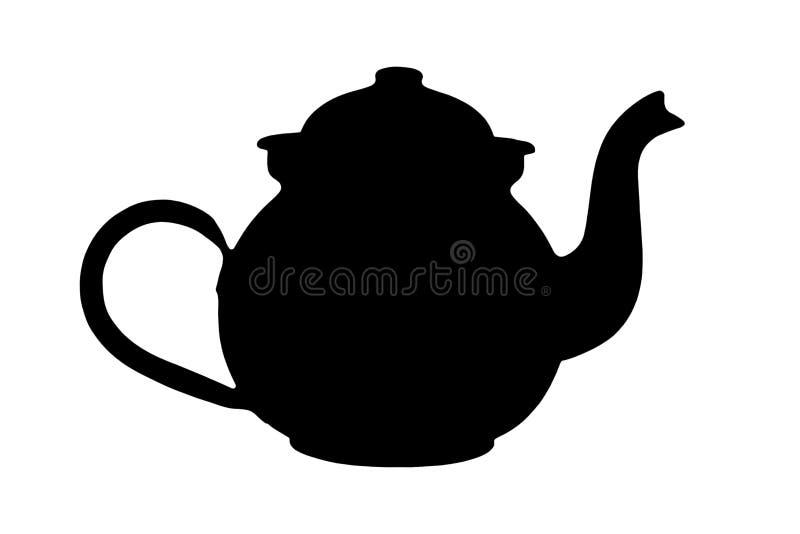 τσάι σκιαγραφιών δοχείων διανυσματική απεικόνιση