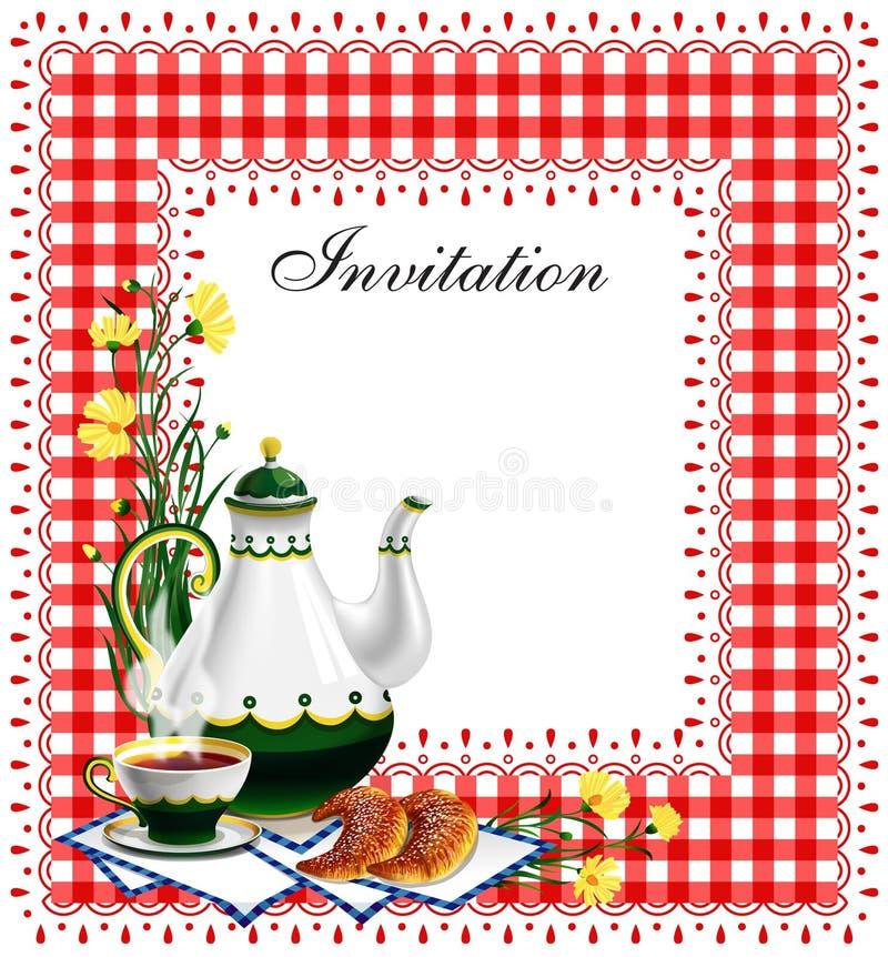 τσάι συμβαλλόμενων μερών πρόσκλησης ελεύθερη απεικόνιση δικαιώματος