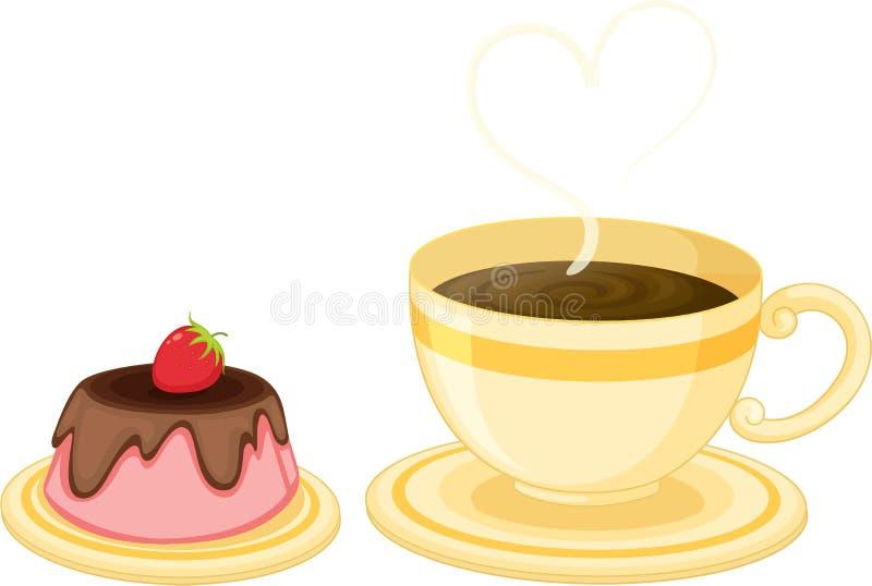 τσάι φλυτζανιών κέικ ελεύθερη απεικόνιση δικαιώματος
