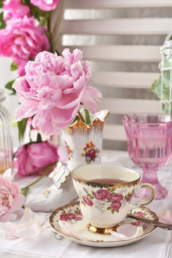 Τσάι φρούτων στο όμορφο εκλεκτής ποιότητας φλυτζάνι πορσελάνης στοκ φωτογραφία με δικαίωμα ελεύθερης χρήσης