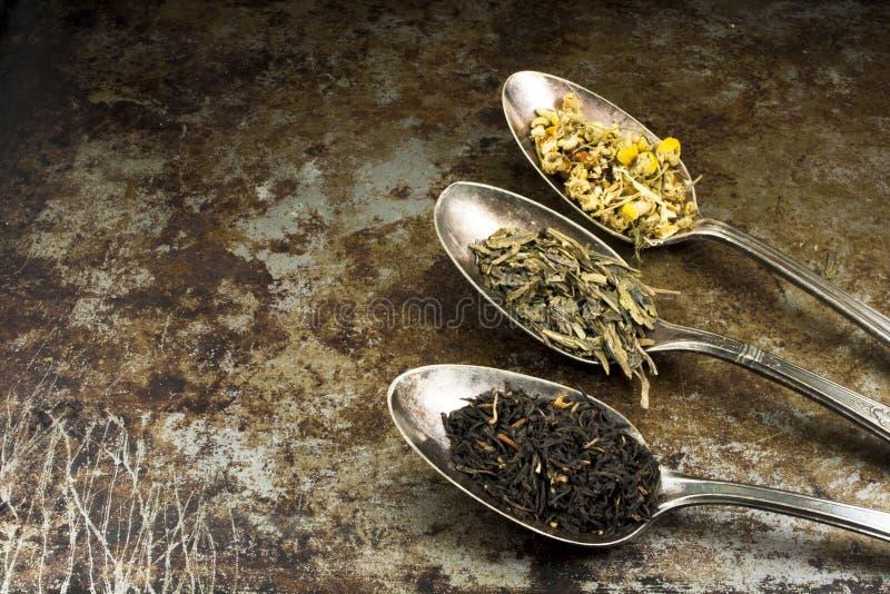 Τσάι χαλαρών φύλλων με το διάστημα αντιγράφων στοκ εικόνες