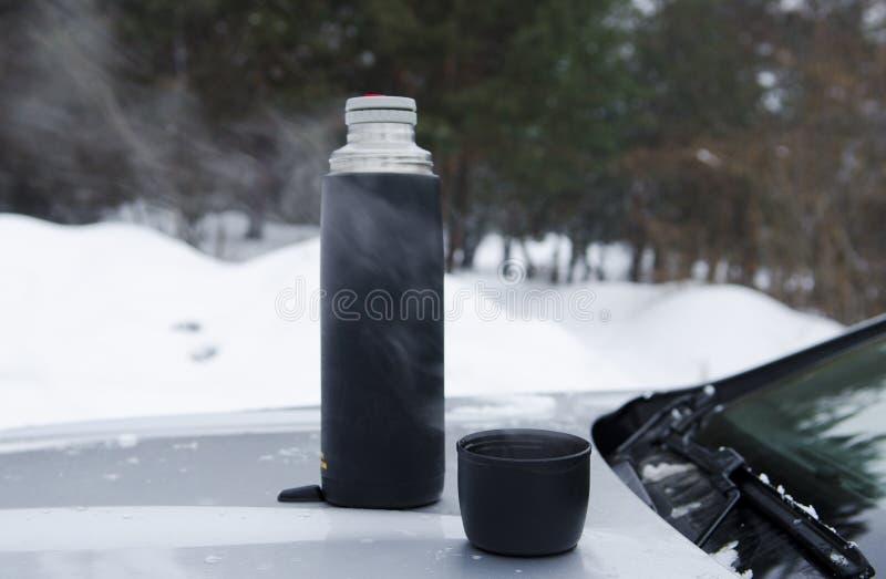 Τσάι χειμερινών πικ-νίκ στην κουκούλα της μηχανής ενάντια στο σκηνικό του δάσους στοκ εικόνα με δικαίωμα ελεύθερης χρήσης