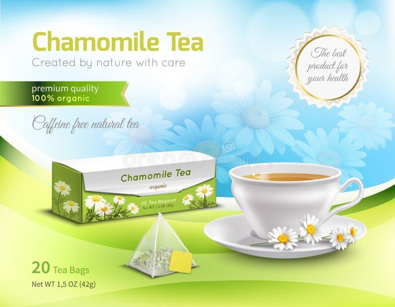 Τσάι Chamomile που διαφημίζει τη ρεαλιστική σύνθεση διανυσματική απεικόνιση