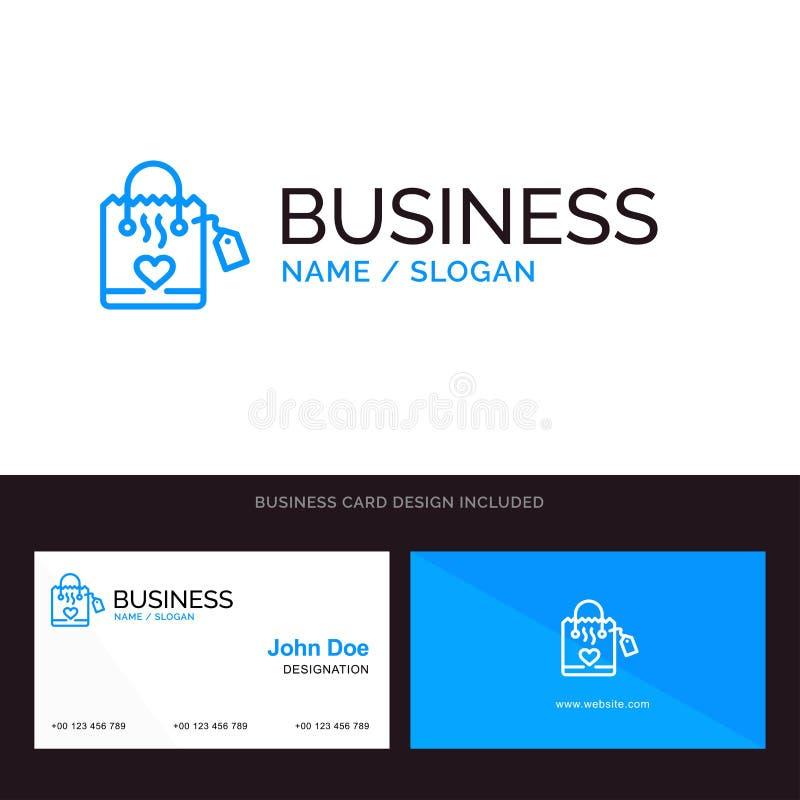 Τσάντα, αγάπη, καρδιά, λογότυπο γαμήλιων μπλε επιχειρήσεων και πρότυπο επαγγελματικών καρτών Μπροστινό και πίσω σχέδιο διανυσματική απεικόνιση