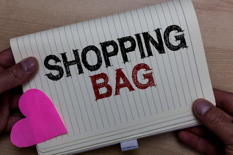 Τσάντα αγορών κειμένων γραψίματος λέξης Επιχειρησιακή έννοια για τα εμπορευματοκιβώτια για τη μεταφορά του προσωπικού noteboo εκμ στοκ εικόνες με δικαίωμα ελεύθερης χρήσης