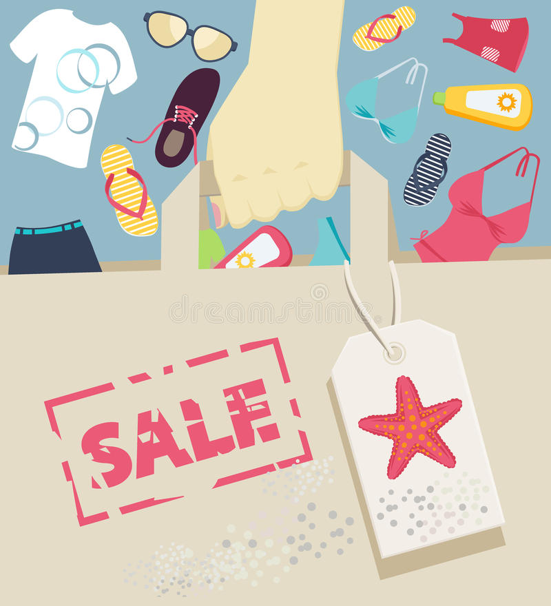 Τσάντα αγορών με τα θερινά εξαρτήματα και beachwear διανυσματική απεικόνιση