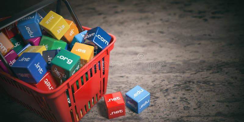 Τσάντα αγορών με τα ονόματα περιοχών Επικοινωνία και ε-λεωφορείο Διαδικτύου απεικόνιση αποθεμάτων
