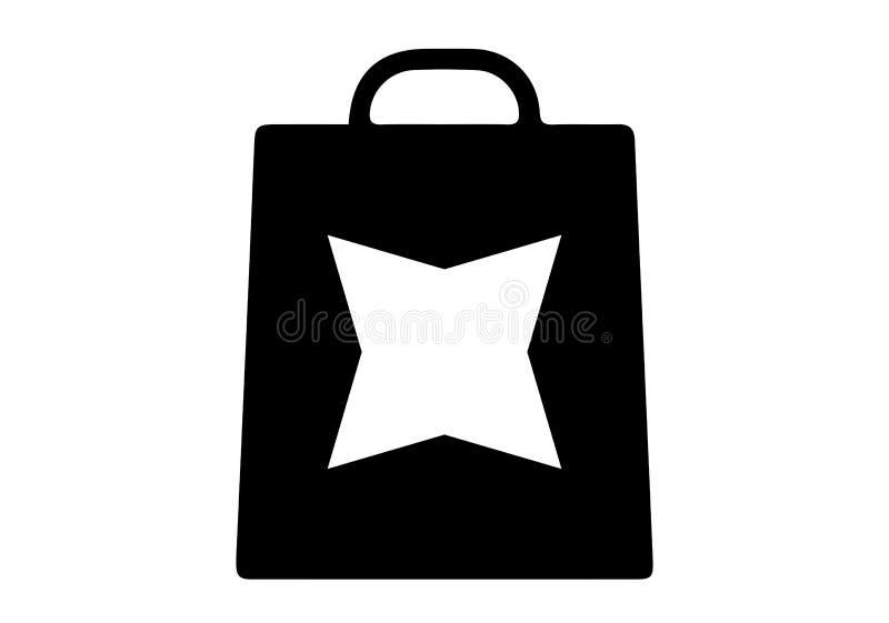 Τσάντα αγορών με το αστέρι τέσσερα άκρες διανυσματική απεικόνιση