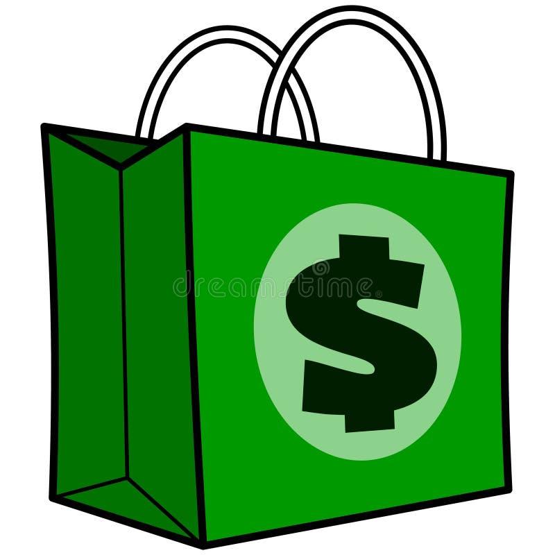 Τσάντα αγορών δολαρίων ελεύθερη απεικόνιση δικαιώματος