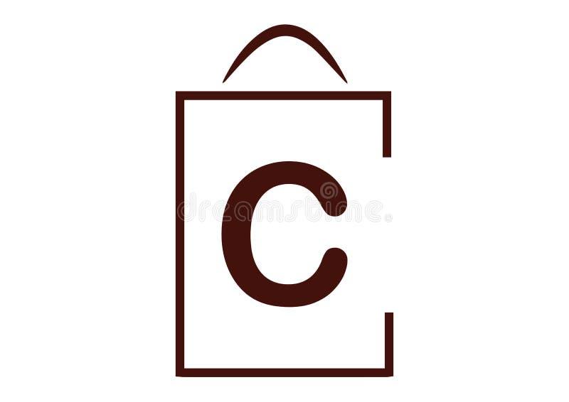 Τσάντα αγορών τυποποιημένη με το γράμμα Γ ελεύθερη απεικόνιση δικαιώματος