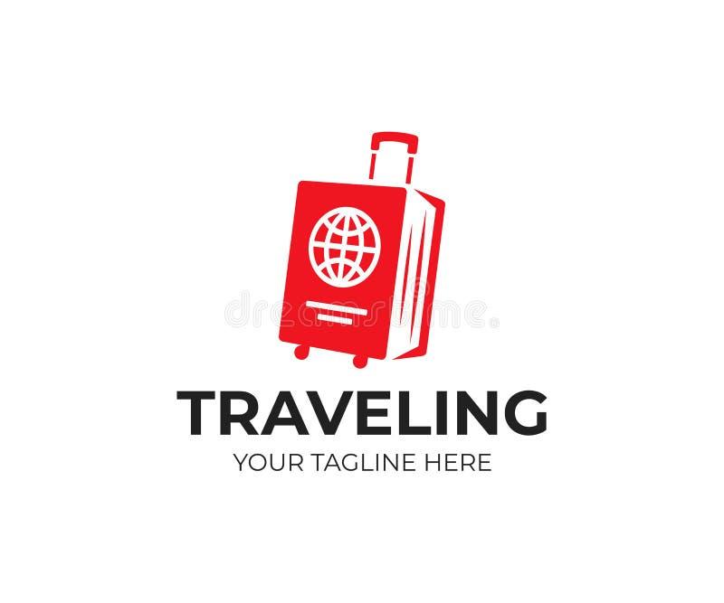 Τσάντα αποσκευών και πρότυπο λογότυπων διαβατηρίων Διακινούμενο διανυσματικό σχέδιο ελεύθερη απεικόνιση δικαιώματος