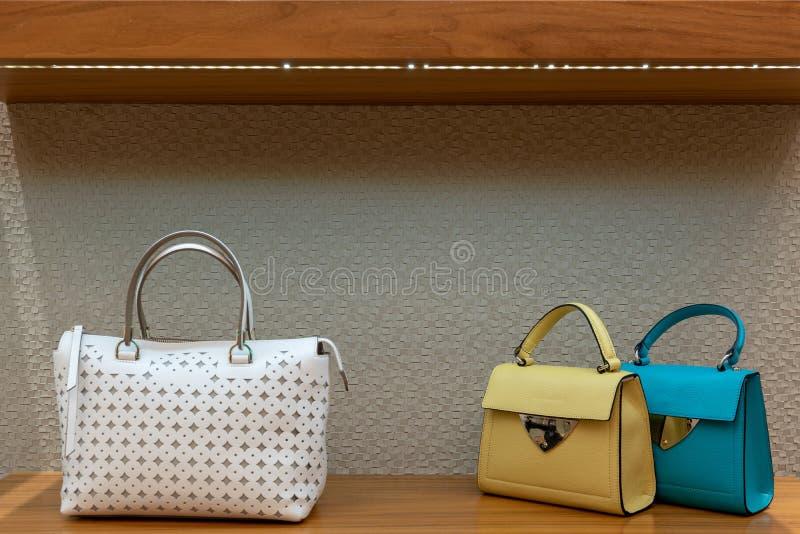 Τσάντα γυναικών σε μια προθήκη ενός καταστήματος πολυτέλειας στοκ εικόνα με δικαίωμα ελεύθερης χρήσης