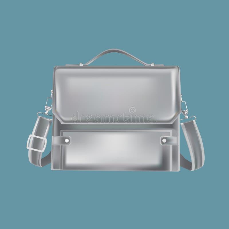 Τσάντα δέρματος μαύρων ` s με τη ζώνη Λειτουργώντας χαρτοφύλακας για τα έγγραφα διανυσματική απεικόνιση
