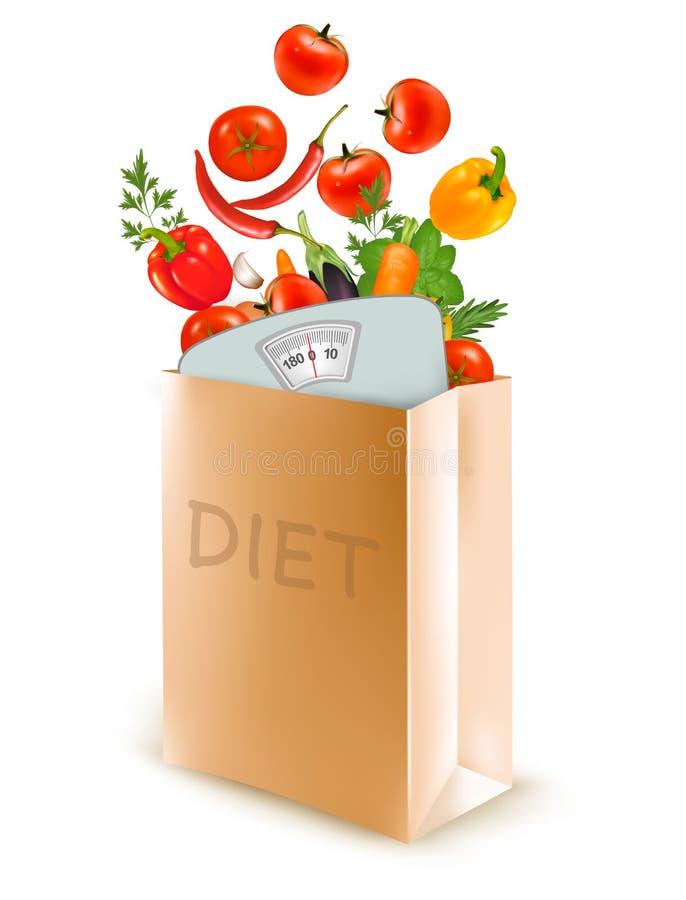 Τσάντα εγγράφου διατροφής με μια κλίμακα και τα λαχανικά διανυσματική απεικόνιση