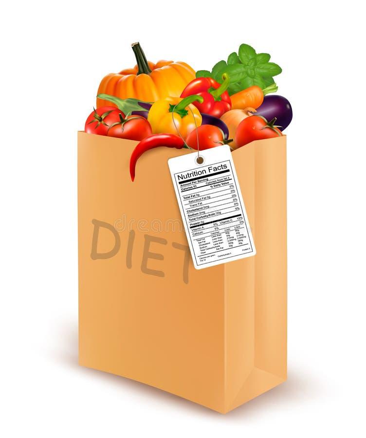 Τσάντα εγγράφου διατροφής με τα λαχανικά και μια θρεπτική ετικέτα απεικόνιση αποθεμάτων
