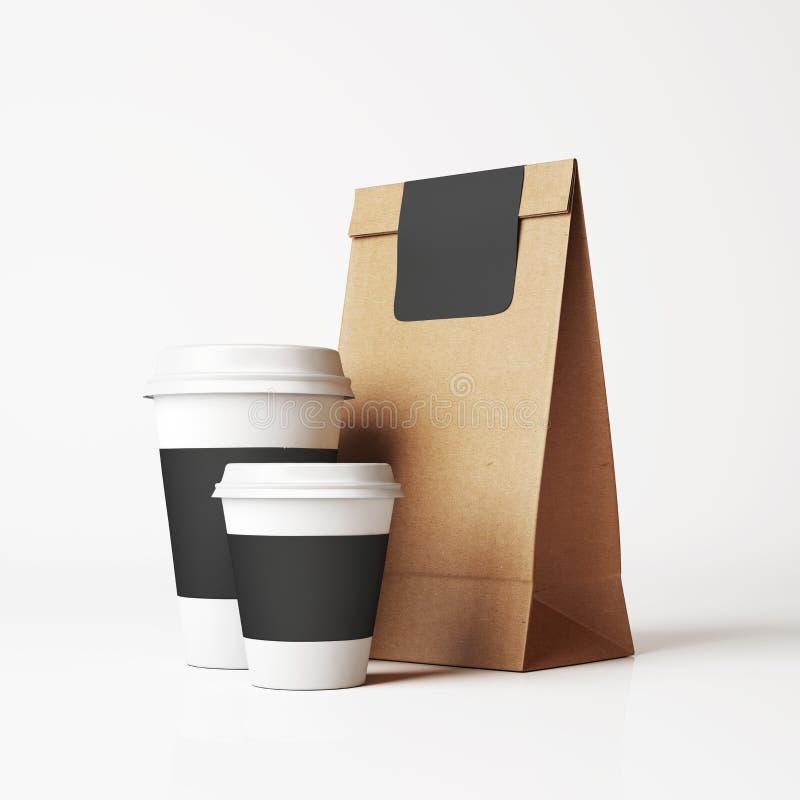 Τσάντα εγγράφου και φλυτζάνια στοκ εικόνα