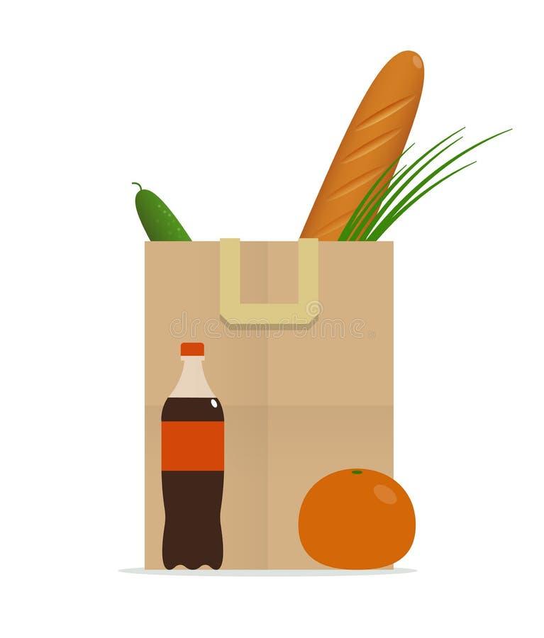 Τσάντα εγγράφου με τα τρόφιμα, υγιεινή διατροφή διανυσματική απεικόνιση