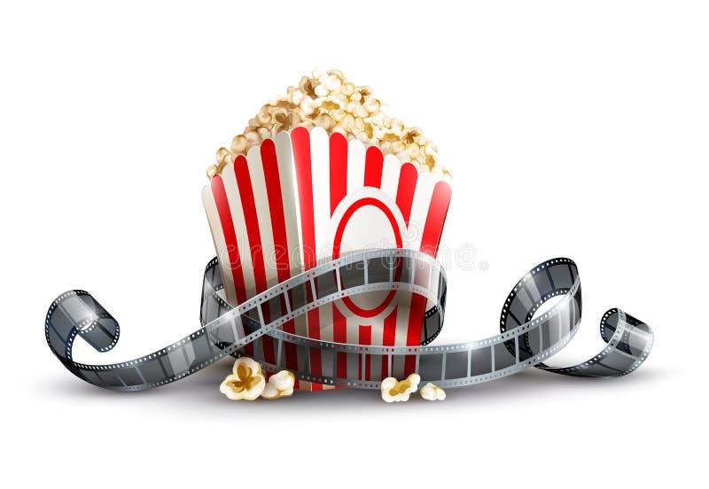 Τσάντα εγγράφου με popcorn και το εξέλικτρο κινηματογράφων απεικόνιση αποθεμάτων
