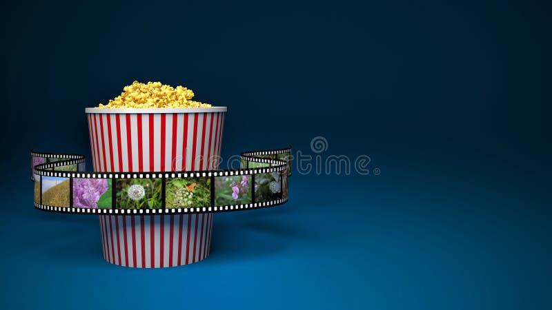 Τσάντα εγγράφου με popcorn και το εξέλικτρο κινηματογράφων διανυσματική απεικόνιση