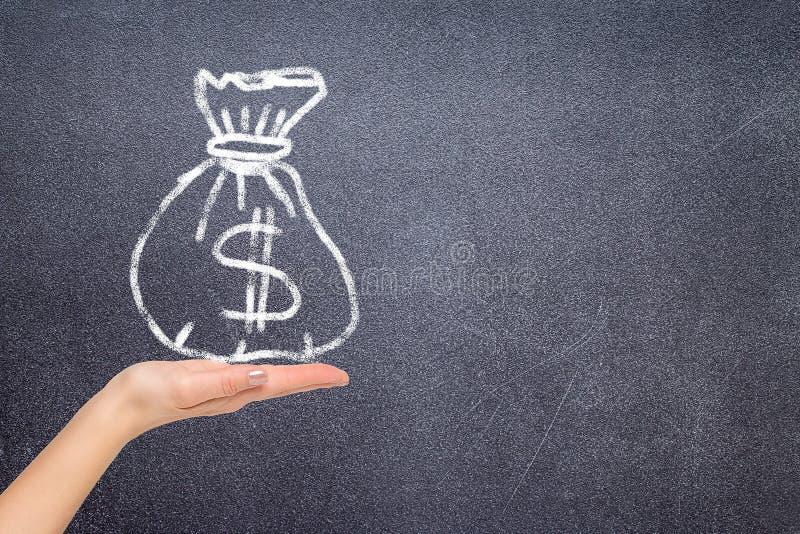 Τσάντα εκμετάλλευσης χεριών με τα δολάρια χρημάτων στοκ φωτογραφία
