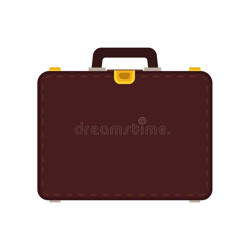 Τσάντα επιχειρησιακών διανυσματική εικονιδίων χαρτοφυλάκων Απομονωμένος επιχειρηματίας αποσκευών περίπτωσης Καφετής επίπεδος εξοπ διανυσματική απεικόνιση