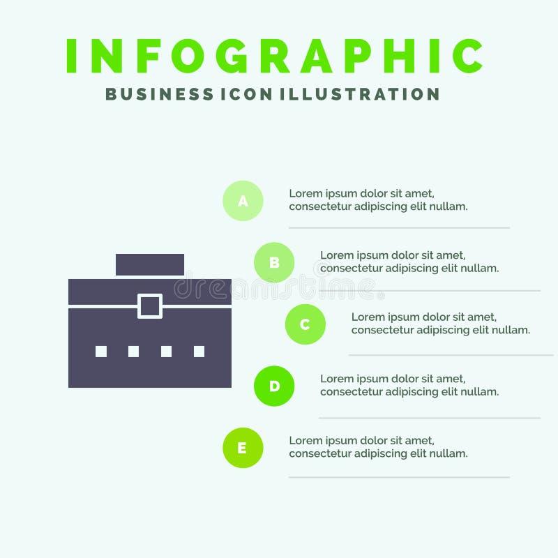 Τσάντα, τσάντα εργαζομένων, χρήστης, στερεό εικονίδιο Infographics 5 διεπαφών υπόβαθρο παρουσίασης βημάτων ελεύθερη απεικόνιση δικαιώματος