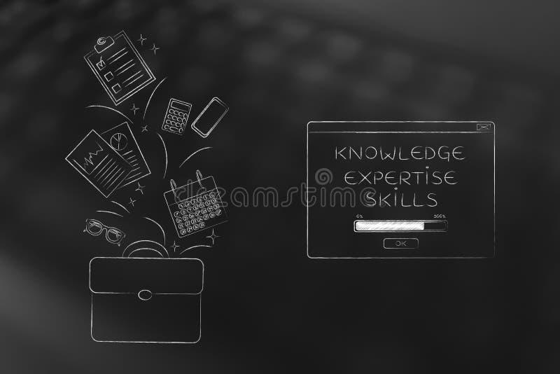 Τσάντα εργασίας με τα στοιχεία γραφείων που πετούν σε ή από το δίπλα στο knowle στοκ εικόνες