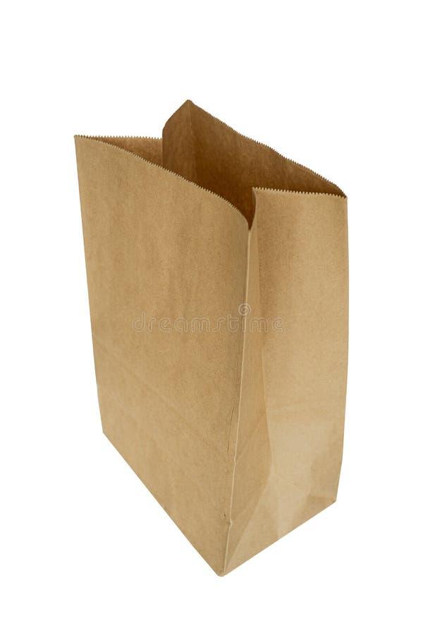Τσάντα καφετιού εγγράφου που απομονώνεται στο άσπρο υπόβαθρο στοκ φωτογραφία με δικαίωμα ελεύθερης χρήσης