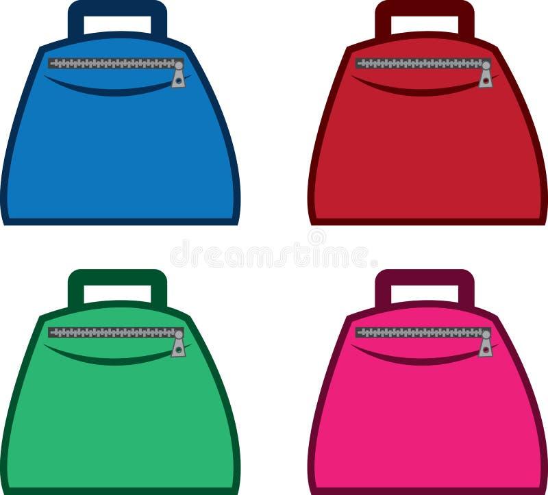 Τσάντα με τα χρώματα φερμουάρ απεικόνιση αποθεμάτων