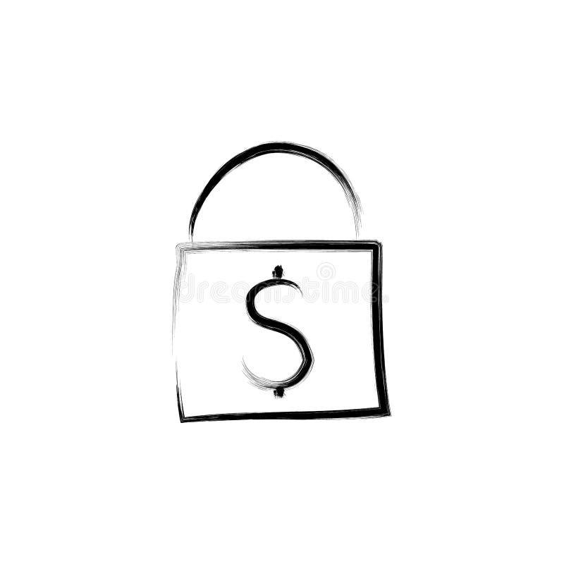 τσάντα με την απεικόνιση ύφους σκίτσων χρημάτων απεικόνιση αποθεμάτων