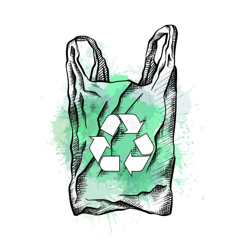 Τσάντα με την εκκόλαψη, το σημάδι ανακύκλωσης και τους πράσινους παφλασμούς watercolor Φιλική τσάντα μηδενικά Eco απόβλητα Ανακυκ διανυσματική απεικόνιση