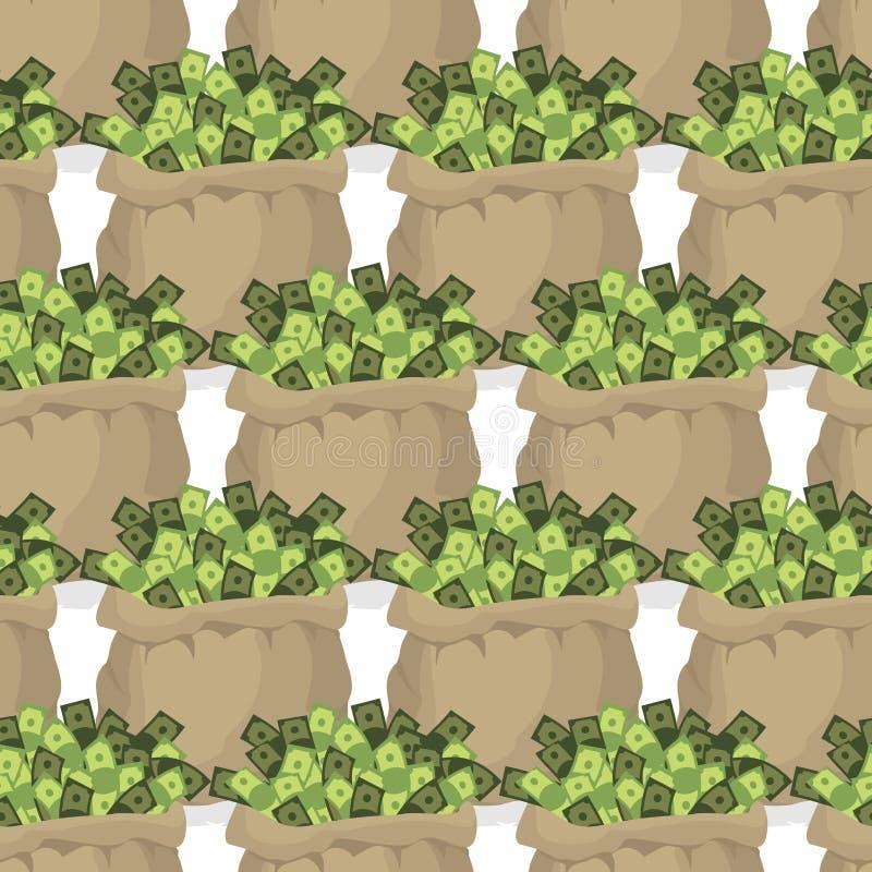 Τσάντα με το άνευ ραφής σχέδιο χρημάτων Πολλά δολάρια στις τσάντες Σύσταση W ελεύθερη απεικόνιση δικαιώματος