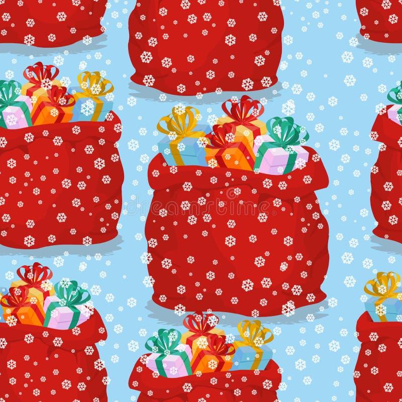 Τσάντα με το άνευ ραφής σχέδιο δώρων Κόκκινος σάκος S υποβάθρου Χριστουγέννων ελεύθερη απεικόνιση δικαιώματος