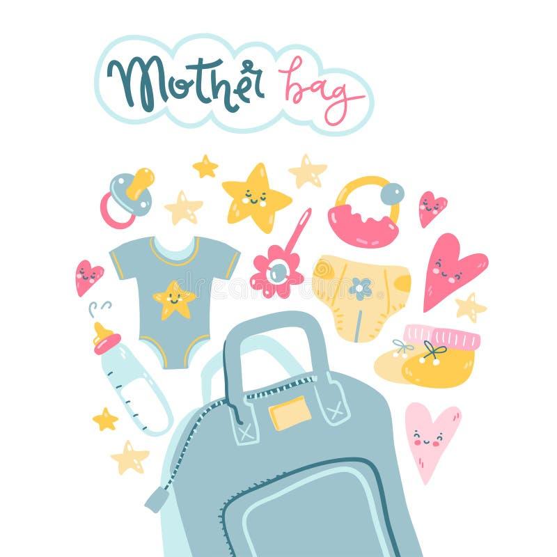 Τσάντα μητέρων Τι να πάρει με σας σε έναν περίπατο ελεύθερη απεικόνιση δικαιώματος