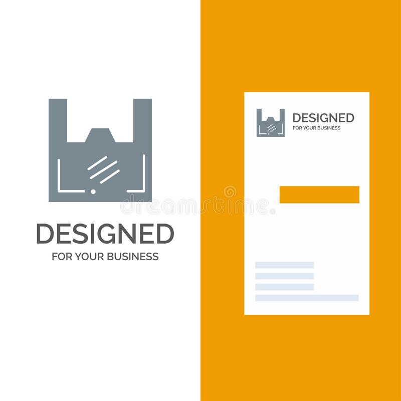 Τσάντα, οικολογία, πλαστικό, αγοραστής, γκρίζο σχέδιο λογότυπων υπεραγορών και πρότυπο επαγγελματικών καρτών ελεύθερη απεικόνιση δικαιώματος