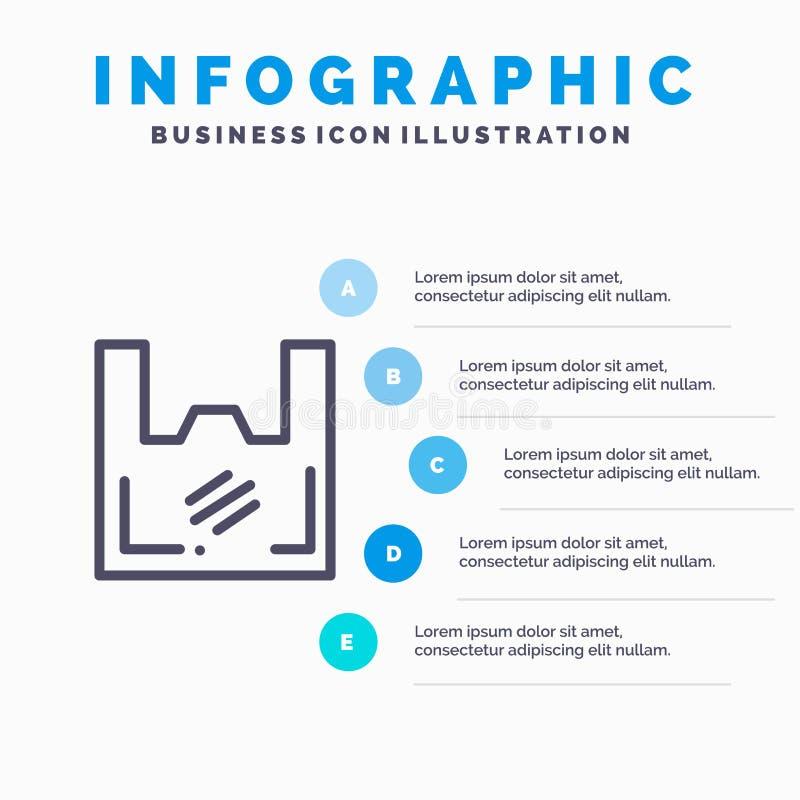 Τσάντα, οικολογία, πλαστικό, αγοραστής, εικονίδιο γραμμών υπεραγορών με το υπόβαθρο infographics παρουσίασης 5 βημάτων απεικόνιση αποθεμάτων