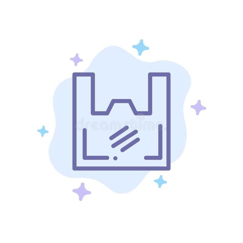 Τσάντα, οικολογία, πλαστικό, αγοραστής, μπλε εικονίδιο υπεραγορών στο αφηρημένο υπόβαθρο σύννεφων ελεύθερη απεικόνιση δικαιώματος