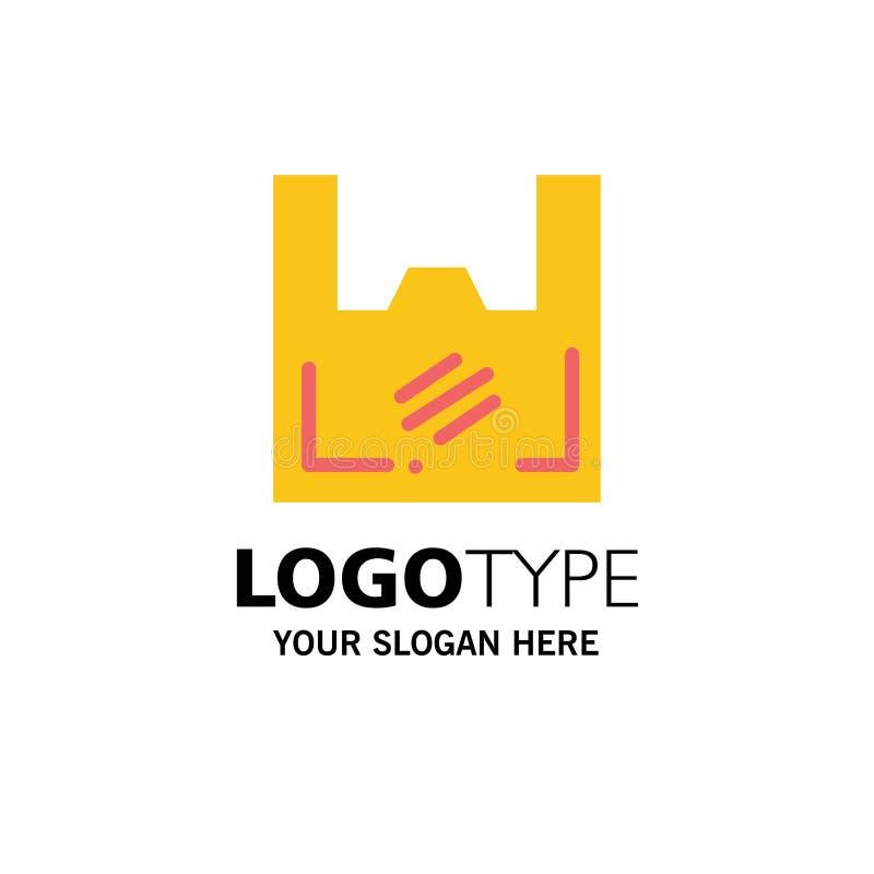 Τσάντα, οικολογία, πλαστικό, αγοραστής, πρότυπο επιχειρησιακών λογότυπων υπεραγορών Επίπεδο χρώμα απεικόνιση αποθεμάτων